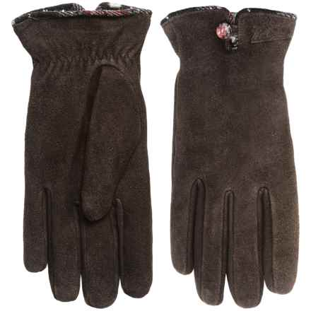 Woolrich Richville Suede Gloves - Chenille Fleece Lined (For Women) in Brown - Closeouts