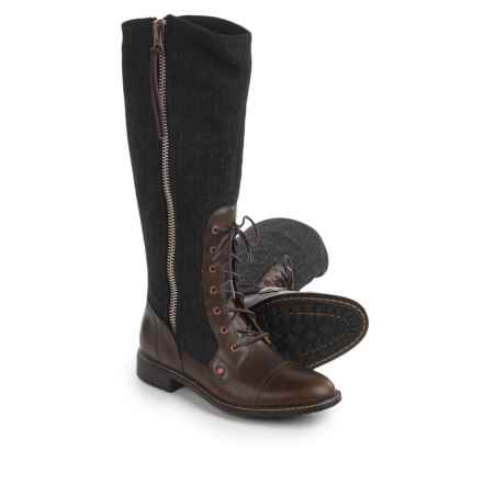 Woolrich Roadhouse Boots - Leather-Wool (For Women) in Salt Marsh/Conductor Stripe - Closeouts