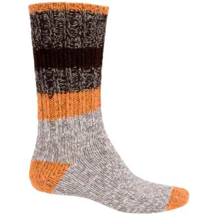Woolrich Rugby Stripe Ragg Socks - Merino Wool, Crew (For Men) in Brown Heather - Closeouts