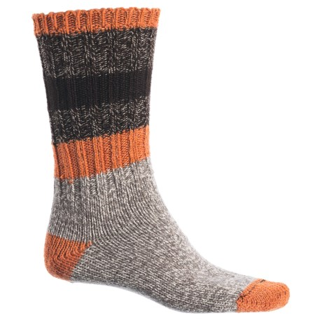 Woolrich Rugby Stripe Ragg Socks - Merino Wool, Crew (For Men) in Brown Heather