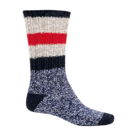 Woolrich Rugby Stripe Ragg Socks - Merino Wool, Crew (For Men) in Taupe/Navy/Red - Closeouts