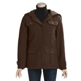 Woolrich Ryalee Wool Jacket - Insulated, Split Shawl Collar Hood (For Women) in Dark Chocolate