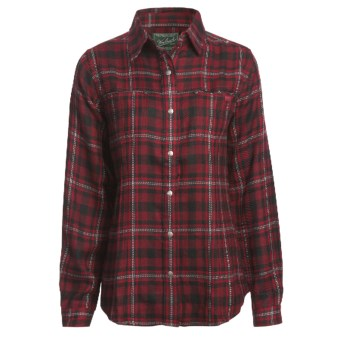 Woolrich Sawyer Shirt Jacket - 8 oz. Brushed Twill (For Women) in Deep Ruby