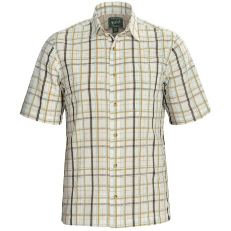 Woolrich Scenic Plaid Shirt - UPF 15+, Organic Cotton, Short Sleeve (For Men) in Moccasin
