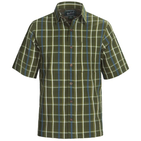 Woolrich Scenic Plaid Shirt - UPF 15+, Organic Cotton, Short Sleeve (For Men) in Pesto