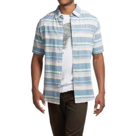 Woolrich Seaport Oxford Yarn-Dye Shirt - Short Sleeve (For Men) in Cadet Blue Stripe - Closeouts