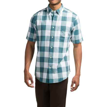 Woolrich Seaport Oxford Yarn-Dye Shirt - Short Sleeve (For Men) in Cadet Blue - Closeouts