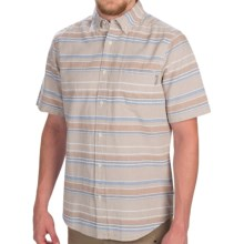 Woolrich Seaport Oxford Yarn-Dye Shirt - Short Sleeve (For Men) in Khaki Stripe - Closeouts