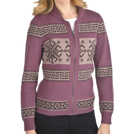 Woolrich Seneca Point Cardigan Sweater - Cotton, Shawl Collar, Zip Front (For Women) in Blackberry