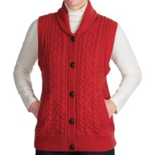 Woolrich Shannon Cable Sweater Vest - Lambswool (For Women) in Poppy - Overstock