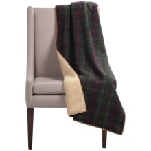 "Woolrich Sherpa Mountain View Wool Throw Blanket - 50x68"" in Burgundy - Closeouts"