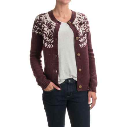 Woolrich Snowfall Valley Snowflake Cardigan Sweater (For Women) in Burgandy - Closeouts