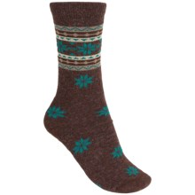 Woolrich Snowflake Socks - Merino Wool Blend, Crew (For Women) in Brown - Closeouts