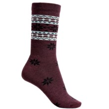 Woolrich Snowflake Socks - Merino Wool, Crew (For Women) in Wine - Closeouts