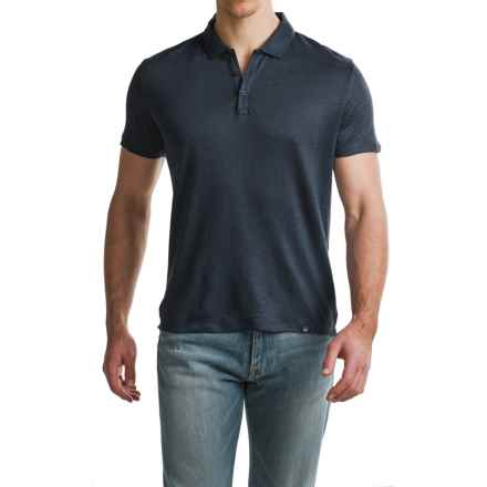 Woolrich Solid Linen Polo Shirt - Short Sleeve (For Men) in Classic Navy - Closeouts