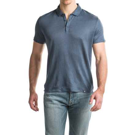 Woolrich Solid Linen Polo Shirt - Short Sleeve (For Men) in Mood Indigo - Closeouts