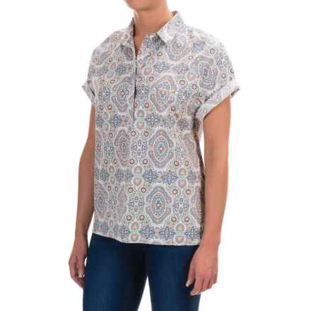 Woolrich Spoil Her Printed Popover Shirt - Short Sleeve (For Women) in Quartz - Closeouts