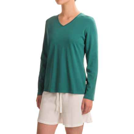 Woolrich Sprinkles V-Neck T-Shirt - Long Sleeve (For Women) in Dark Teal - Closeouts
