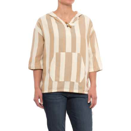 Woolrich Standing Wave Shirt - Organic Cotton, Short Sleeve (For Women) in Camel Stripe - Closeouts