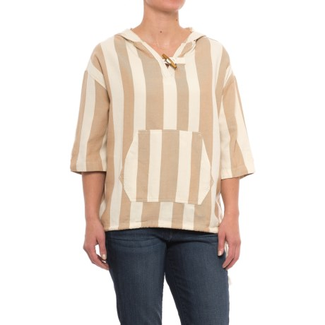 Woolrich Standing Wave Shirt - Organic Cotton, Short Sleeve (For Women) in Camel Stripe