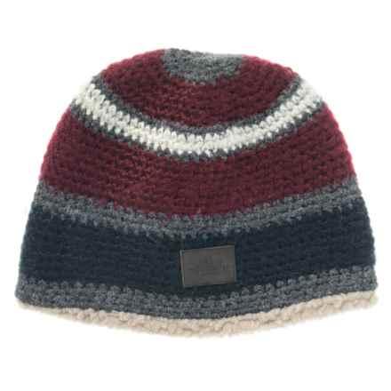 Woolrich Stripe Faux-Sherpa Beanie (For Men) in Deep Ruby - Closeouts