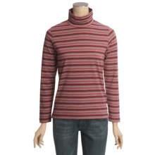 Woolrich Striped Mock Turtleneck - Stretch Cotton Jersey, Long Sleeve (For Women) in Ruby Multi - Closeouts