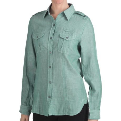 Woolrich Sugar Run Shirt - Cotton, Long Sleeve (For Women) in Azure