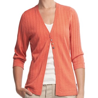Woolrich Summit Hill Cardigan - Merino Wool, Rib Stitch (For Women) in Calypso