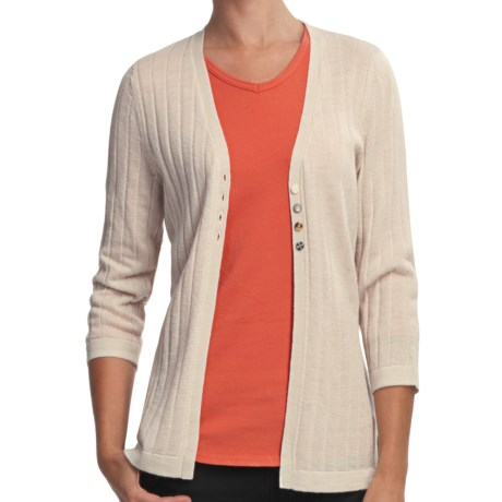 Woolrich Summit Hill Cardigan - Merino Wool, Rib Stitch (For Women) in Stone
