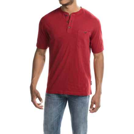 Woolrich Sunstone Henley Shirt - Short Sleeve (For Men) in Crimson - Closeouts