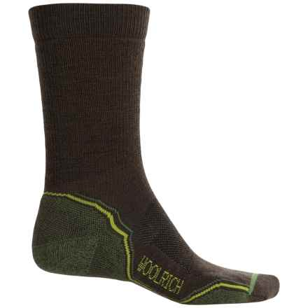Woolrich Superior Hiking Socks - Merino Wool, Midweight, Crew (For Men) in Slate Black/Gecko - Closeouts