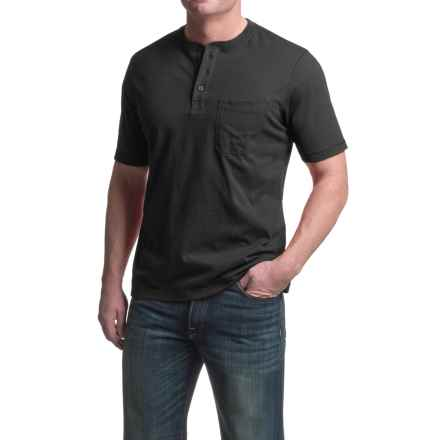 Woolrich Tall Pine Henley Shirt - Short Sleeve (For Men) in Black - Closeouts