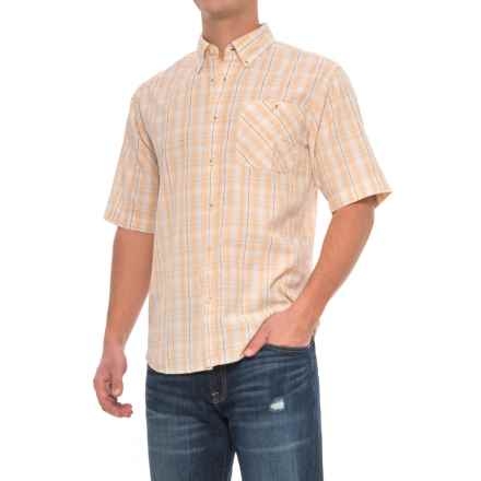 Woolrich Tall Pine Madras Shirt - Short Sleeve (For Men) in Canyon Sun - Closeouts