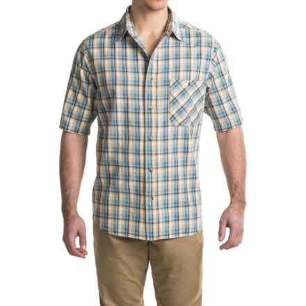 Woolrich Tall Pine Madras Shirt - Short Sleeve (For Men) in Khaki - Closeouts