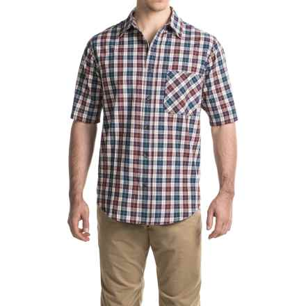 Woolrich Tall Pine Madras Shirt - Short Sleeve (For Men) in Navy - Closeouts