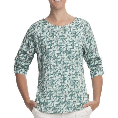 Woolrich Tamia Cotton Slub Print Top - UPF 20, 3/4 Sleeve (For Women) in Deep Breeze
