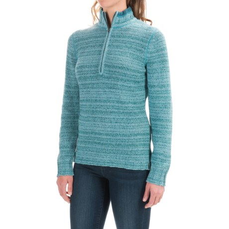 Woolrich Tanglewood Sweater - Zip Neck (For Women) in Mineral Blue