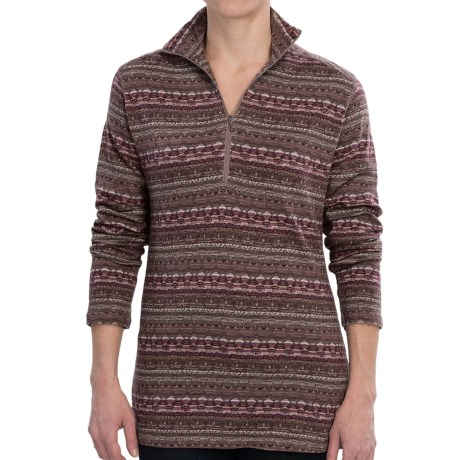 Woolrich Tawnya Jacquard Zip Turtleneck - Long Sleeve (For Women) in Coco Bean Multi