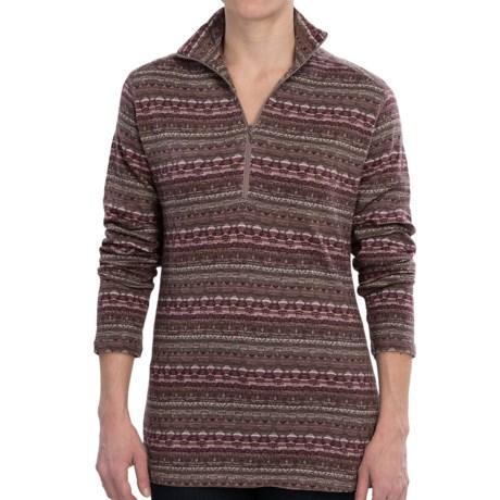 Woolrich Tawnya Jacquard Zip Turtleneck - Long Sleeve (For Women) in Coco Bean Multi