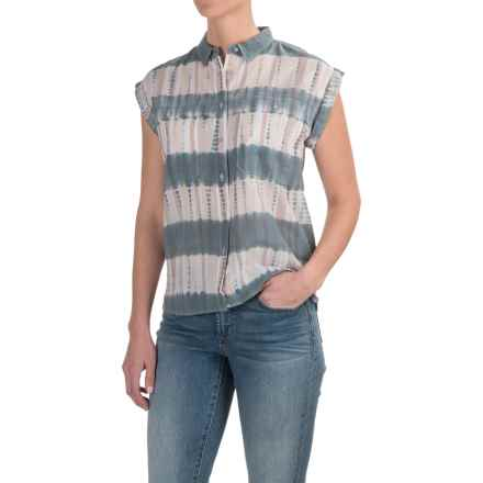 Woolrich Tie-Dye Stag Shirt - Short Sleeve (For Women) in Coastal Grey Stripe - Closeouts