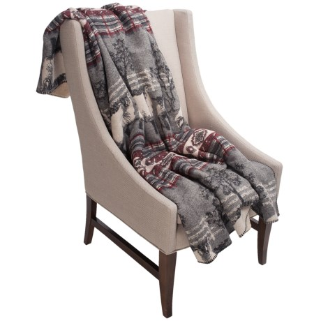 Woolrich Timber Mountain II Reversible Throw Blanket - Wool Blend in Sheep Plaid