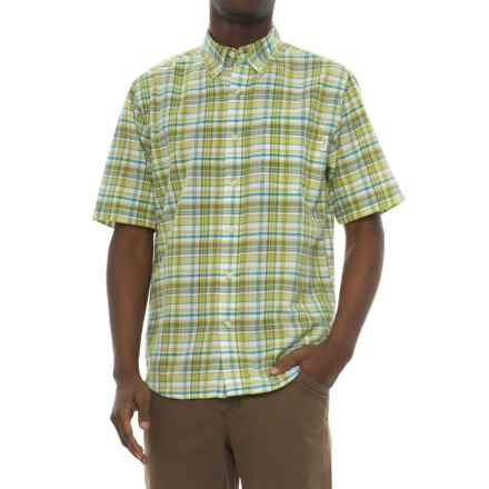 Woolrich Timberline Madras Shirt - Short Sleeve (For Men) in Leaf Green - Closeouts