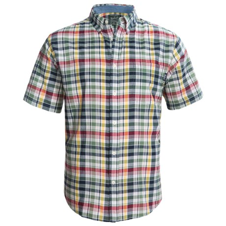 Woolrich Timberline Shirt - Short Sleeve (For Men) in Dip Deep Indigo Plaid