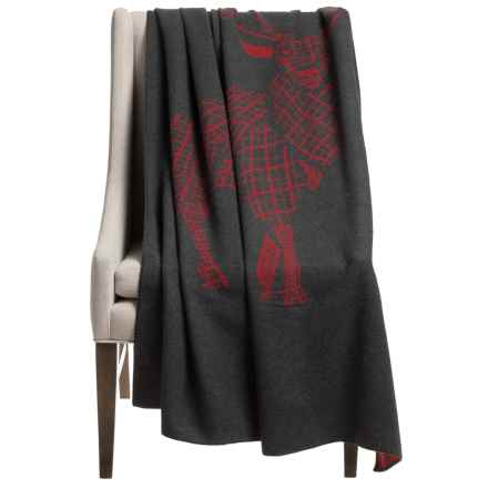 "Woolrich Treverton Jacquard Wool Throw Blanket - 46x70"" in Gray/Red Elk - Closeouts"