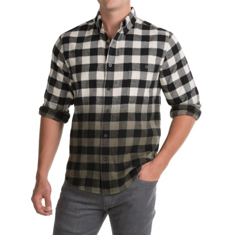 Woolrich Trout Run Dip-Dyed Flannel Shirt - Long Sleeve (For Men) in Black Buffalo
