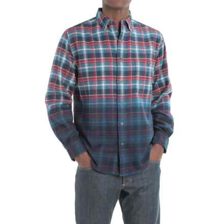Woolrich Trout Run Dip-Dyed Flannel Shirt - Long Sleeve (For Men) in Red Black Buffalo Plaid - Closeouts