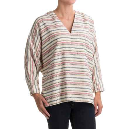 Woolrich Twisted Rich Oversized Flannel Shirt (For Women) in Wool Cream Stripe - Closeouts