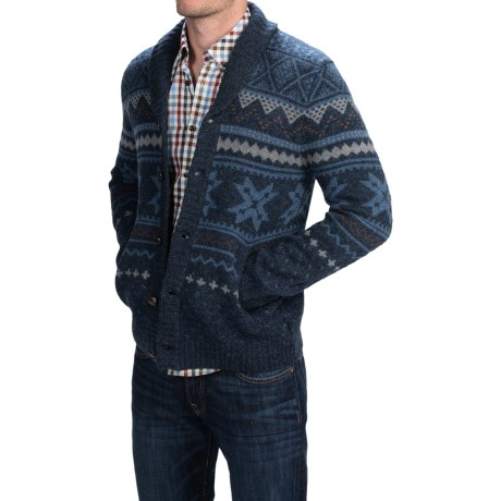 Woolrich Ultra Line Fair Isle Cardigan Sweater Button Front, Wool (For Men)