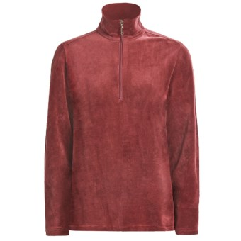 Woolrich Velour Zip Turtleneck - Stretch, Long Sleeve (For Women) in Dark Ruby