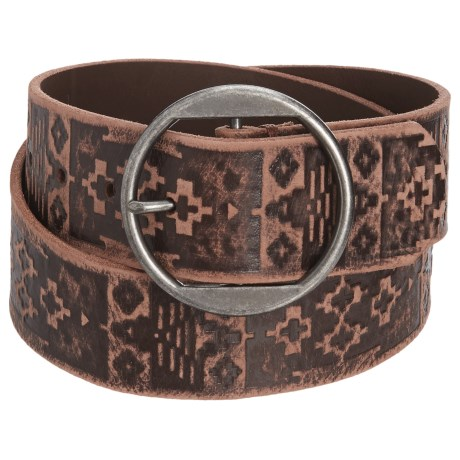 Woolrich Vintage Embossed Leather Belt (For Women) in Mahagony